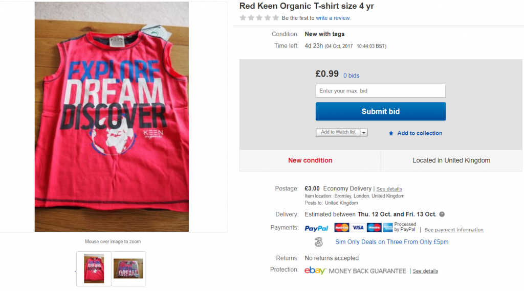 Selling on eBay is so easy, red organic top, eBay listing