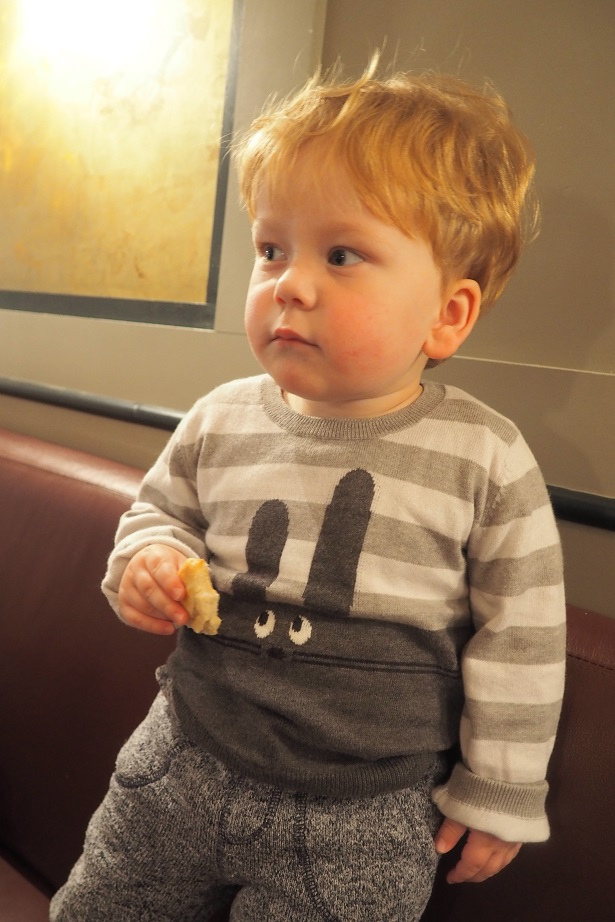 Baba Fashionista with The Bonnie mob, kids fashion, jumper, baby eating