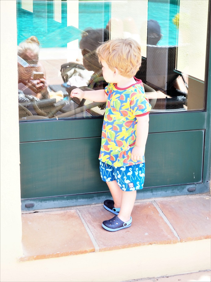 Baba Fashionista with Tom & Teddy, Review, Giveaway, Matching Swimwear for Men & Boys, UV-protected Trunks, Swimwear