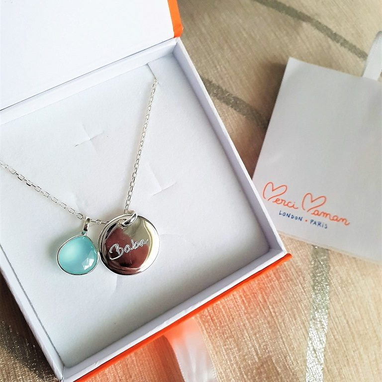 Personalised Merci Maman Necklace, Merci Maman, Personalised Gift, hand-engraved jewellery, Christmas Giveaway, the Frenchie Mummy