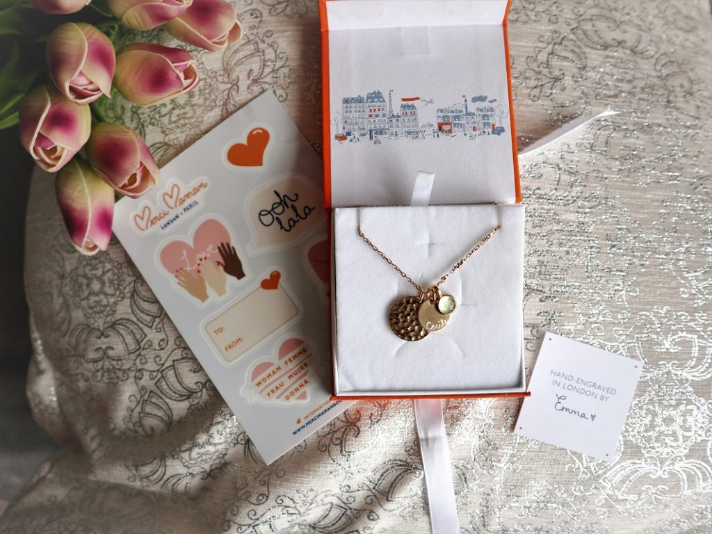 Merci Maman Birthstone Necklace, Merci Maman Bestsellers, Hand-engraved jewellery, Mother's Day Giveaway, Win, the Frenchie Mummy