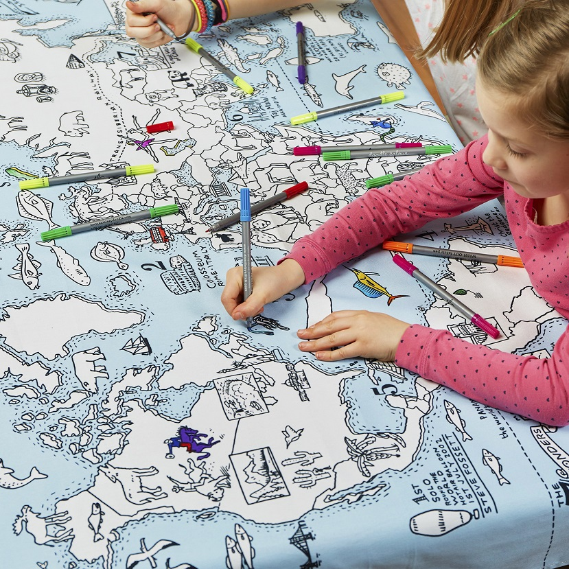 Eatsleepdoodle Tablecloths, Blog Anniversary Giveaway, Win, the Frenchie Mummy, Eatsleepdoodle, Doodle Gifts, Gift Ideas, Fun At Home, Colour & Learn, World Map Tablecloth