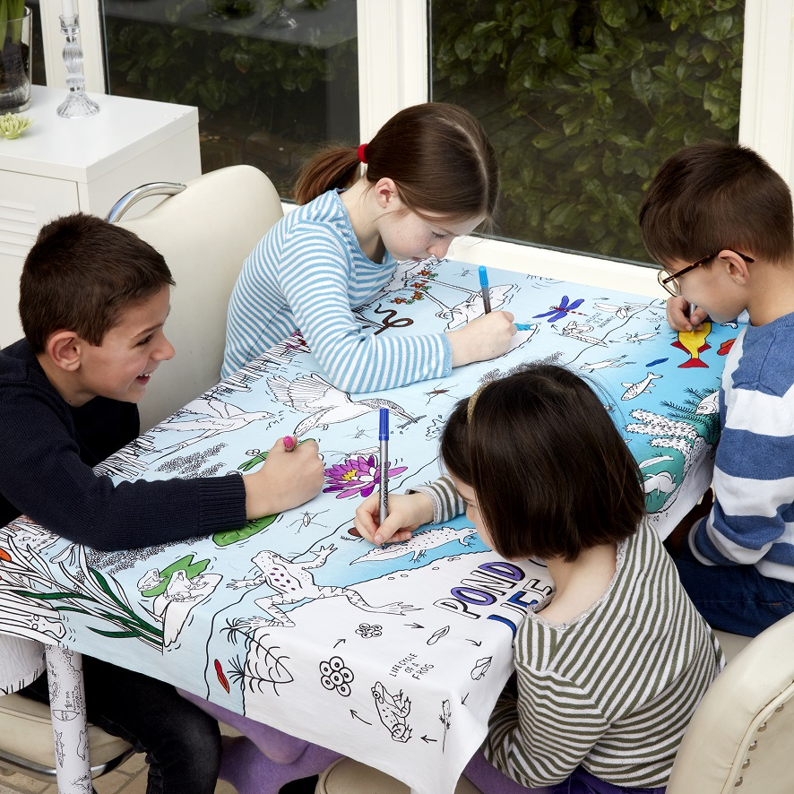 Eatsleepdoodle Tablecloths, Blog Anniversary Giveaway, Win, the Frenchie Mummy, Eatsleepdoodle, Doodle Gifts, Gift Ideas, Fun At Home, Colour & Learn, Pond Life Tablecloth