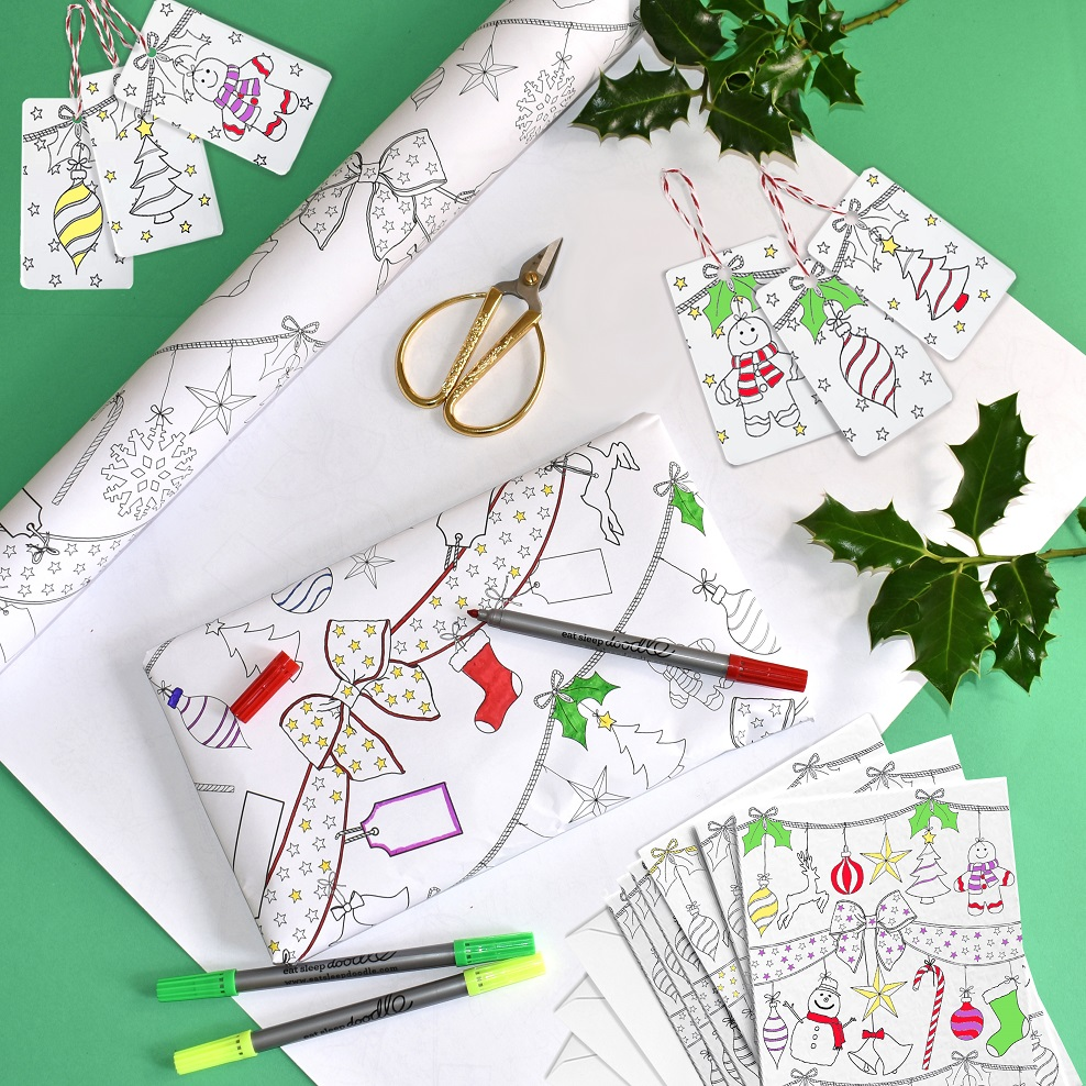 Christmas Eatsleepdoodle Set, Eatsleepdoodle, Christmas Collection, Gifts, Colour In, creative doodle gifts, Kids Items, Christmas Giveaways, Win, The Frenchie Mummy, Craft Activity Pack