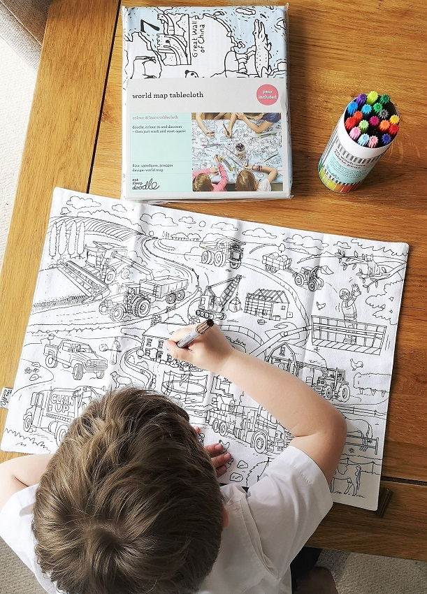 Easter Eatsleepdoodle Bundle, Eatsleepdoodle, Cotton Gifts, Doodle, Colouring, Textile Gifts, Kids Activities, Colouring Fun, Tablecloth, placemat, fabric pens, Easter Giveaways, Win, The Frenchie Mummy