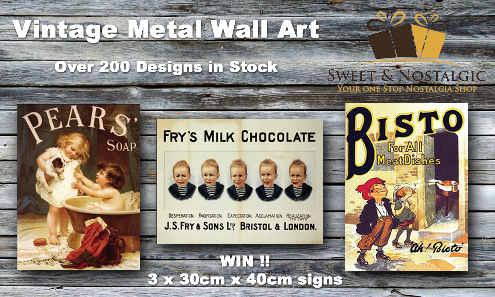 Win a Lot of Sweet & Nostalgic Vintage Metal Wall Signs, Vintage Advertising Signs, Popular household brands, Blog Anniversary, The Frenchie Mummy