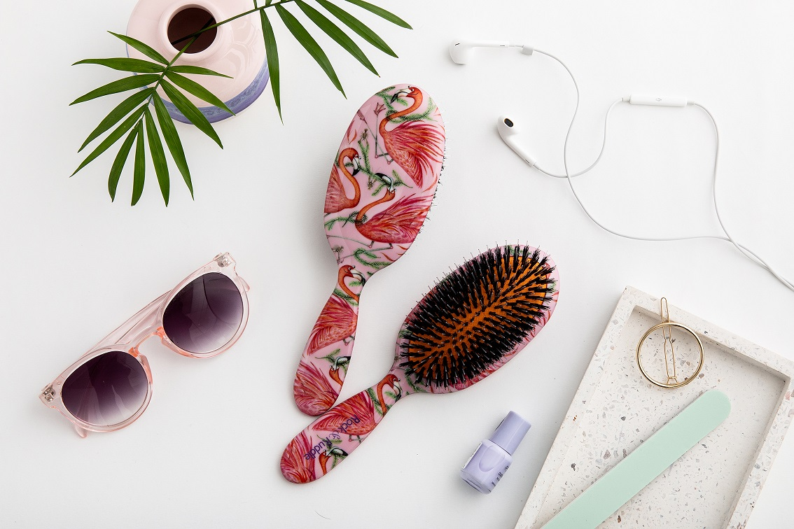Rock & Ruddle Flamingos Hairbrush, Blog Anniversary Giveaways, Natural Bristle Hairbrushes, Hair Care, the Frenchie Mummy, Win